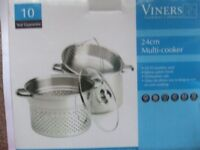 Viners 24 cm stainless steel multi-cooker stockpot/steamer (new)
