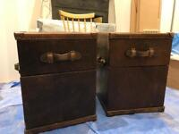 Expensive trunk style bedside tables/cabinets. Real leather. Brown.