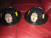 2 Fire Chief helmets for boys dressing up as Firemen