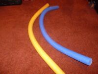 Long swimming floats x 2 - 1 yellow, 1 blue. As used in swimming lessons.