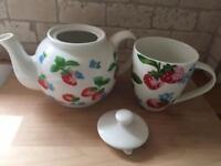 Cath Kidston Strawberry Print Teapot + Mug