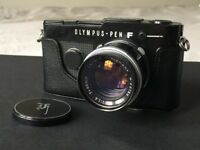 Rare Black Olympus Pen FT Half Frame Film Camera with G.Zuiko F1.4 Lens and protective case