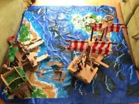 ELC Pirate ship, fort, play mat and pirates.