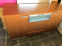 2 DOOR 4 DRAWER DRESSER WITH LARGE MIRROR VGC , MEASURES 57 INCHES WIDE X 19 INCHES DEEP X 34 INCHES