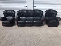 Rossini black Italian leather sofa set can deliver local 🚛👍🏻😁
