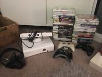 X box 360 plus 40 games and accessories kinect
