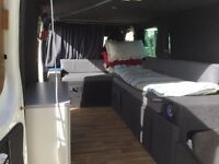 Ford Transit SWB van with Double bed, leisure battery, gas burners, storage, stereo, fully lined