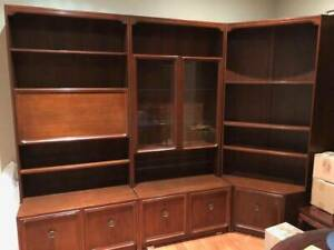 Wall unit cabinet, 3-piece solid wood good condition
