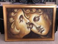 """Real Oil Painting """"Love Is Blind"""" Framed"""