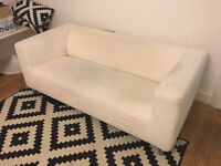 Ikea 2 seat sofa, white, removable cover.