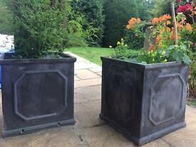 Two Faux lead Chelsea garden box planter