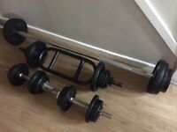 SOLID BARBELL, TRICEP BAR AND SET OF SOLID BAR DUMBELLS WITH 54KG OF CAST IRON WEIGHTS