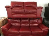 Red leather 3 and 2 sofas