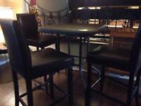 Bar style table with3 bar leather look stools