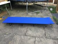3 single 4 leg folding camping beds, ideal for children. (Blue in colour)
