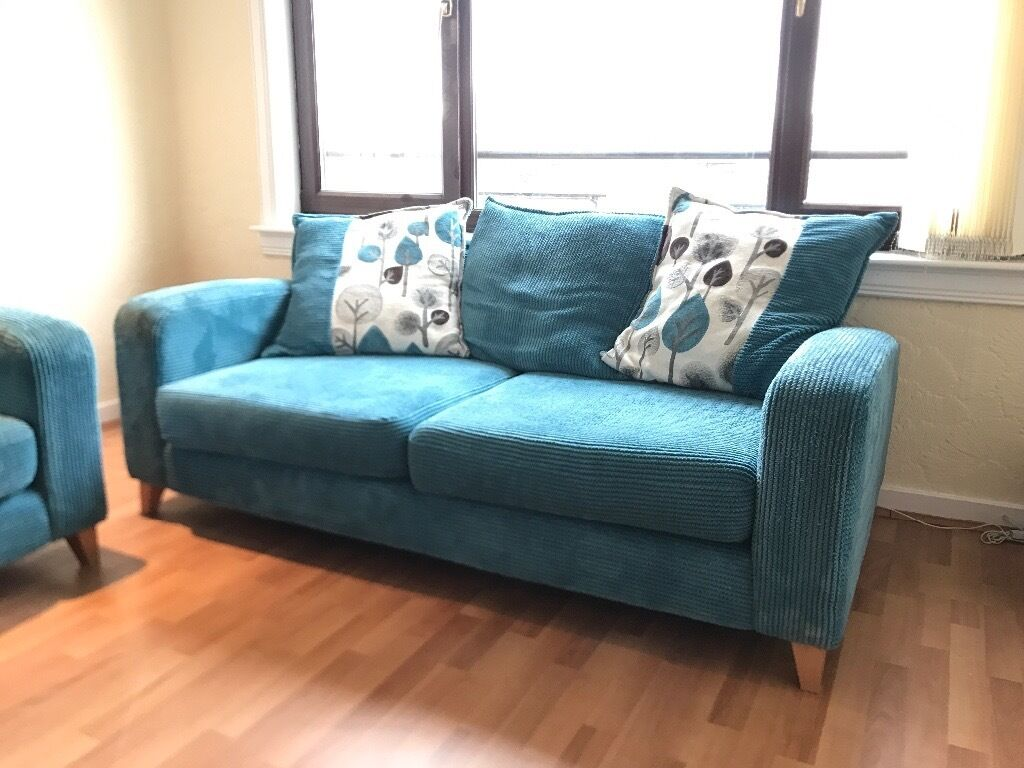 two 3 seater fabric sofas for sale with matching footstool and glass tv stand in dundee gumtree. Black Bedroom Furniture Sets. Home Design Ideas
