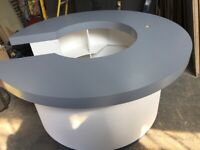 Reception circular exhibition desk 2 m round bar