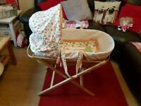 Moses basket with folding stand for sale