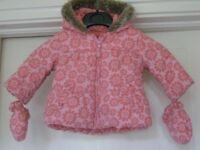 Baby Quilted Anorak with Hood and Mittens
