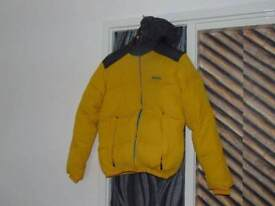 Bench quilted jacket with a hood Size S yellow and charcoal