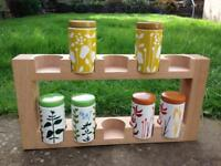 HABITAT MADERA SPICE RACK together with 6 HERBERT EARTHENWARE SPICE JARS