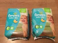 2 x Pampers baby dry nappies 6+