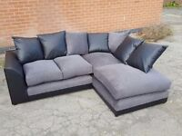 Really nice brand new corner sofa.black leather base.small tear. can deliver