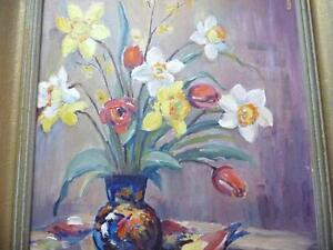 "Still Life with Flowers byGeorge H. Wolfe ""Flowers"" Oil Painting Stratford Kitchener Area image 2"