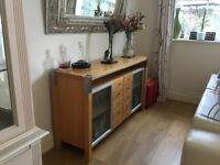 Solid timber and stainless steel sideboard