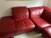 Free red leather corner sofa
