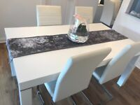 White high gloss Dining room table and 4 chairs