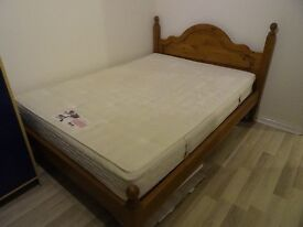 Double pine bed + mattress