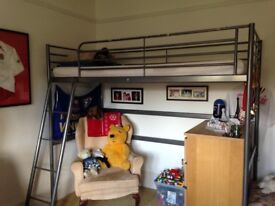 Ikea Kids Loft Bed, Silver Frame, hardly used, mattress included