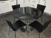 Black Granite & Satin Stainless Steel Dining Table c/w 4 Black Leather Chairs, Stainless Steel Legs