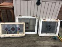 4 stained glass windows Edwardian Victorian antique