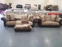 Ex-display DFS Medley chocolate fabric and leather 4+2 seater sofas and puffee