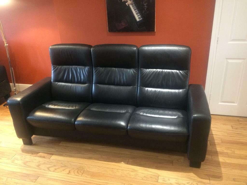 ekornes stressless wave high back 3 seater leather sofa in