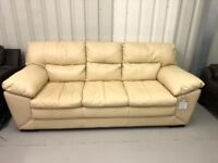 DFS VALINT 3 SEATER IN IVORY LEATHER - Ex-Display Sofa - RRPRICE 799£