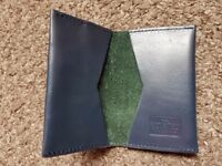 Saville Row Leather Card Holder with Contrast Suede Inner - blue