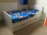 White Toddler Bed with underbed storage draw - Excellent Condition