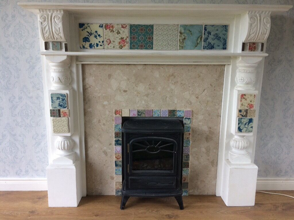 upcycled fireplace surround and heater in crumlin county antrim