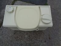 caravan or camping toilet just been steam cleaned nice and clean inside none electric one pick up
