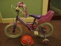 "Quality Dawes Princess 14"" wheel kids bike with baby carrier, stabilisers and helmet."