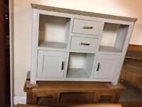 Grey and oak side board with cupboards