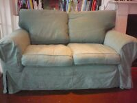 Green two seat sofa with removable covers - Ealing W7