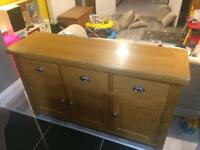 Solid Oak Sideboard with Toughened Glass Top
