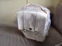 Leather double panniers - unwanted present - white - Italian handmade quality - brand new and unused