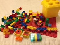 Box tub of Lego Duplo & base board, train & truck chassis
