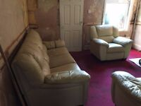 3 PIECE SOFA SET, CREAM - OLD & TORN IN COUPLE OF PLACES BUT DECENT TO USE