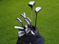 mens r/h ping golf clubs full set and bag and trolley and waterproofs
